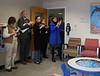 HOLLY PELCZYNSKI - BENNINGTON BANNER Staff at Southern Vermont Medical Center stand together in celebration as they unveil the new Kids Corner in the waiting room on the mother baby unit at the hospital on 100 Hospital Ave. in Bennington.