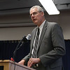 HOLLY PELCZYNSKI - BENNINGTON BANNER Tom Dee, President and CEO of the Southwestern Vermont Medical Center talks to concerned citizens and members of the select board about the concerning corona virus on Monday during the town meeting.