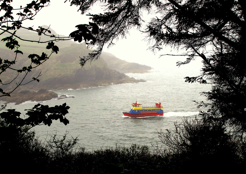 Lunch and a seat at St Catherine's Head to watch a passing ferry, this one from Mevagissey.