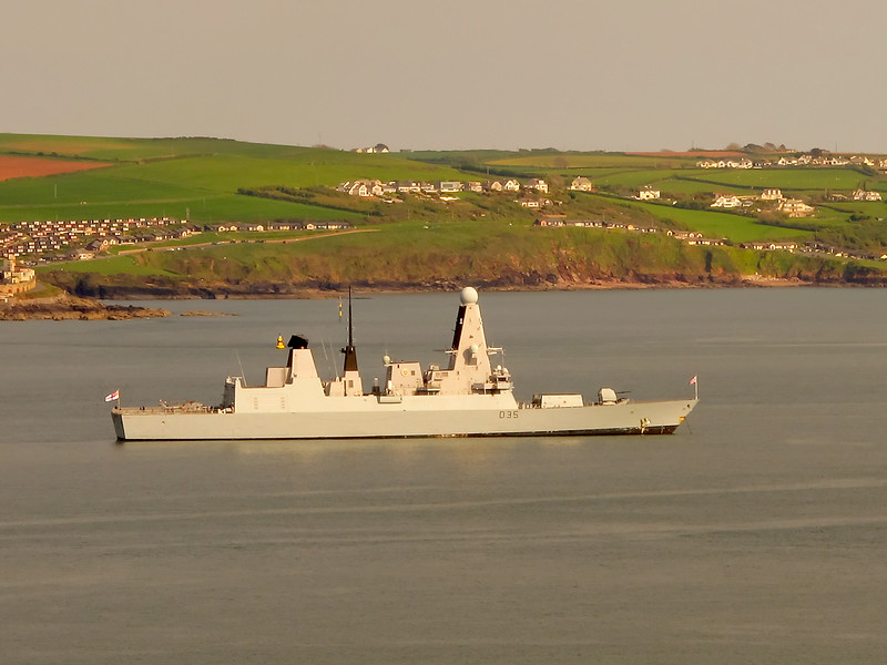 HMS Dragon, a type 45 destroyer, at anchor awaiting the tide for a departure from Plymouth Sound.   An hour later she had slipped away.