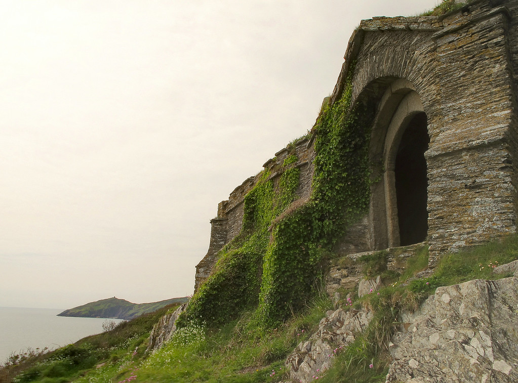 Queen Adelaide's Chapel at Penlee Point with St Michael's Chapel on Rame Head in the distance.