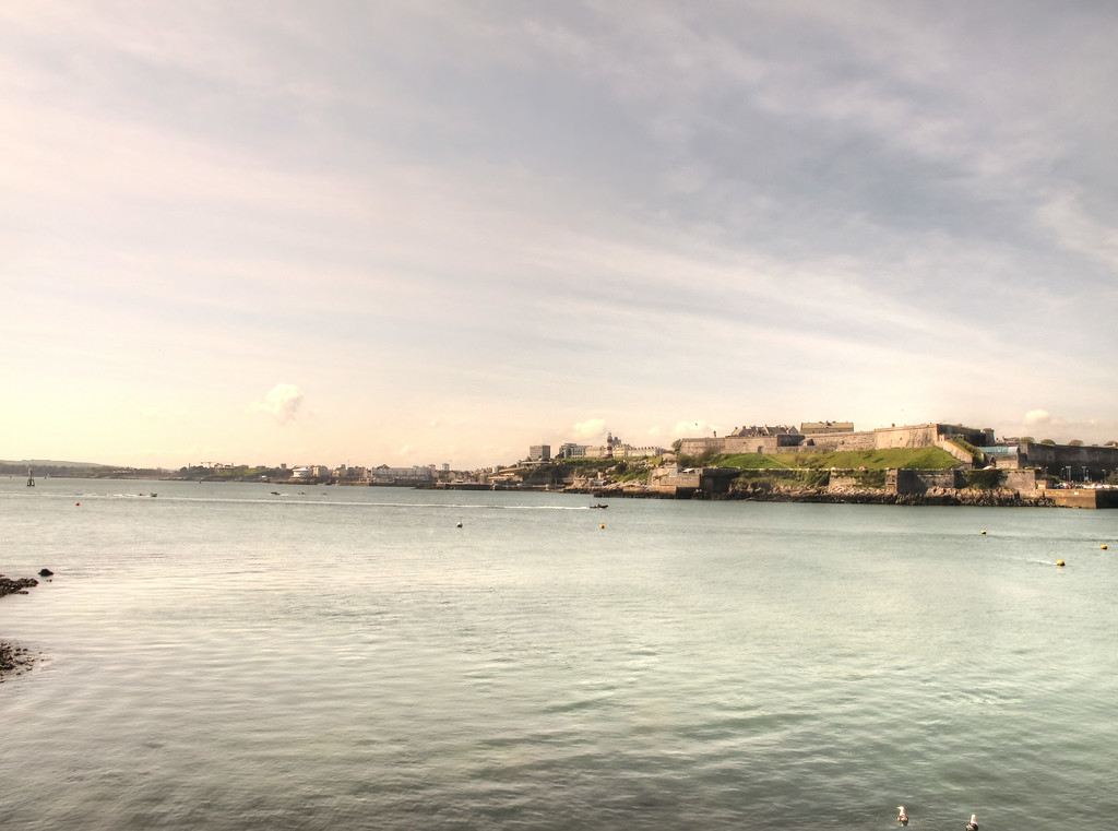 A view across to the Citadel and beyond, The Hoe, from Mountbatten Point.