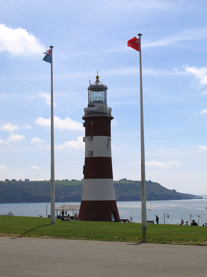 John Smeaton's Eddystone lighthouse, re-errected here on The Hoe as a tribute to his rugged design.