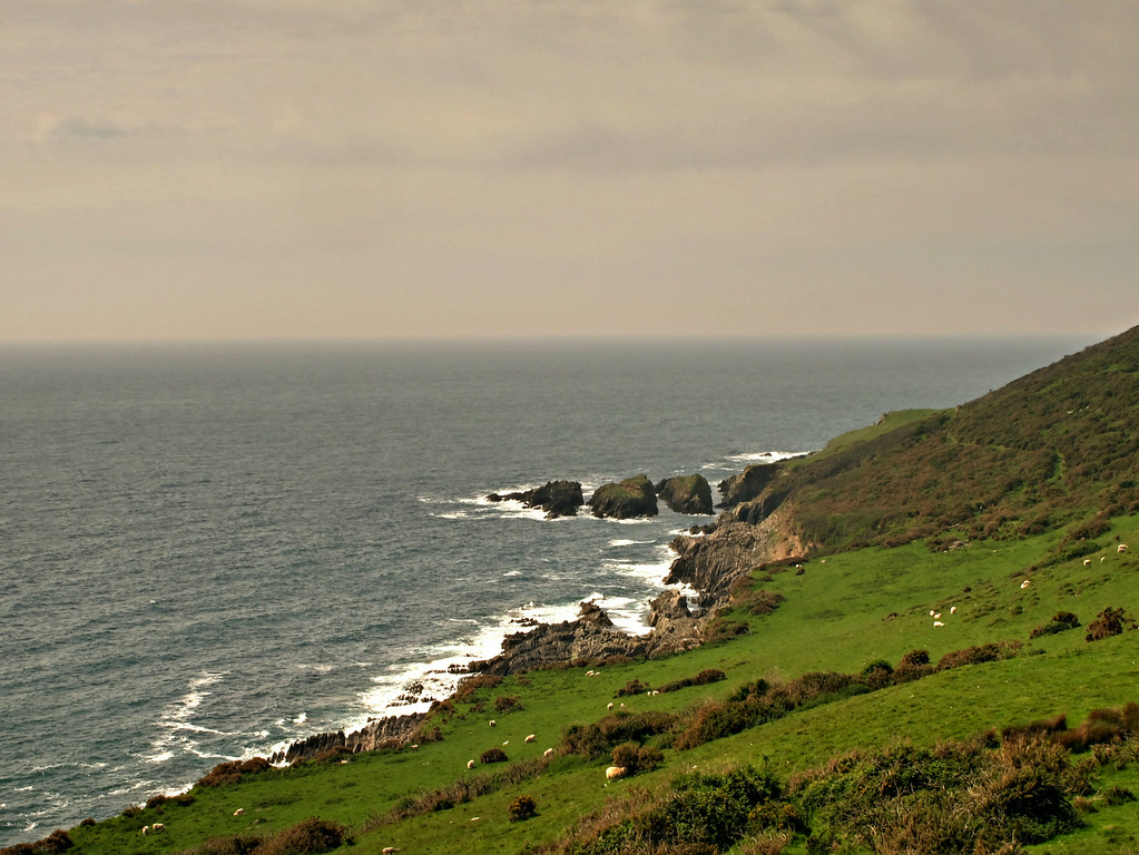 Stoke Point on the rugged coastline along the south of the Noss Mayo peninsula.