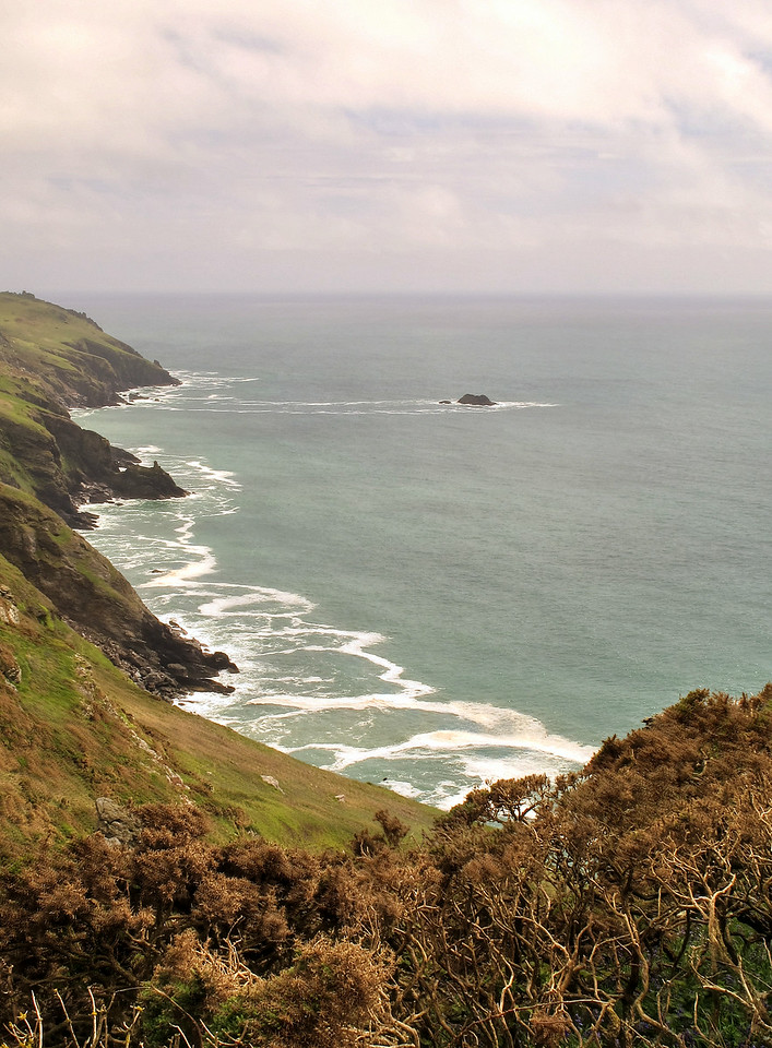 More rugged coastline , off Bolberry Down.
