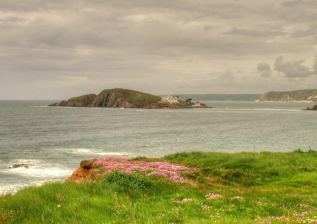 Looking back to Burgh Island.