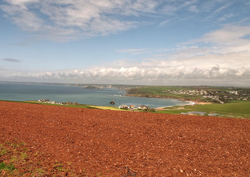 Looking back over Thurlestone showing the deep red colour of the soil in this part of the country.