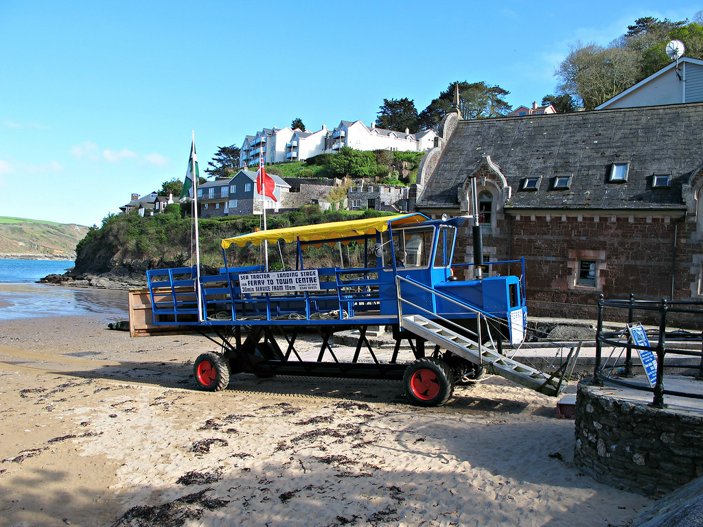 On the way into Salcombe.<br /> This strange contraption is a tractor that takes passengers out into the water so they can get onto the ferry into the town centre without getting their feet wet.