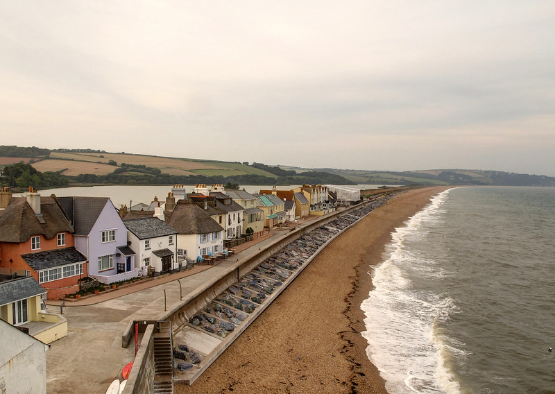 Torcross village and Slapton Sands.   This beach was the scene of a disastrous exercise in the second world war when  live fire landings by US armed forces went seriously wrong.