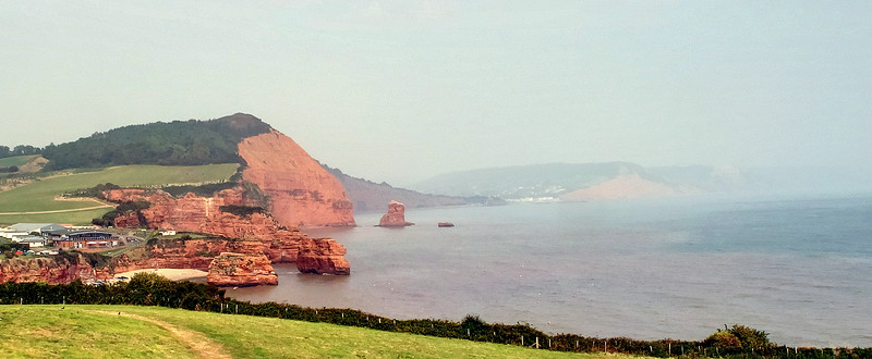 Ladram Bay and the rocks there.   The town in just to the right of centre is Sidmouth, today's destination.