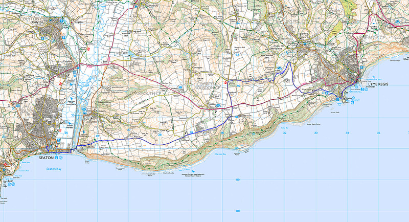 Due to a cliff fall the undercliff walk was closed.   The alternative scenic inland route was taken shown in blue.
