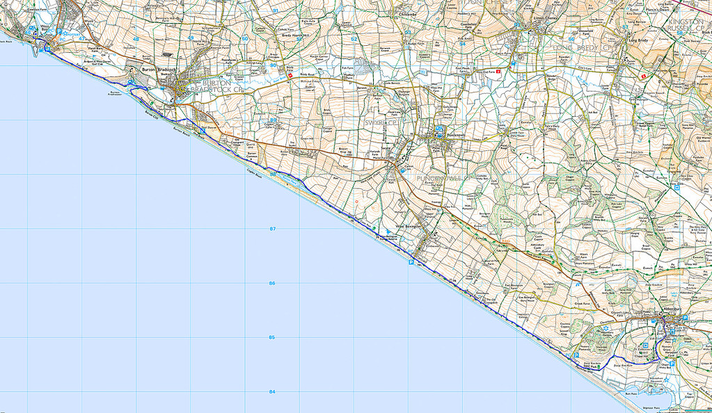 The long sweep of Chesil Beach is encountered from the start and the shingle along the beach is a constant companion.