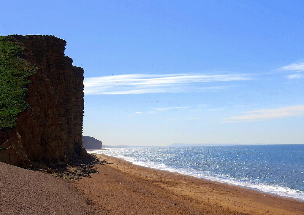 The impressive cliffs at West Bay, made famous by the popular ITV series 'Broadchurch'
