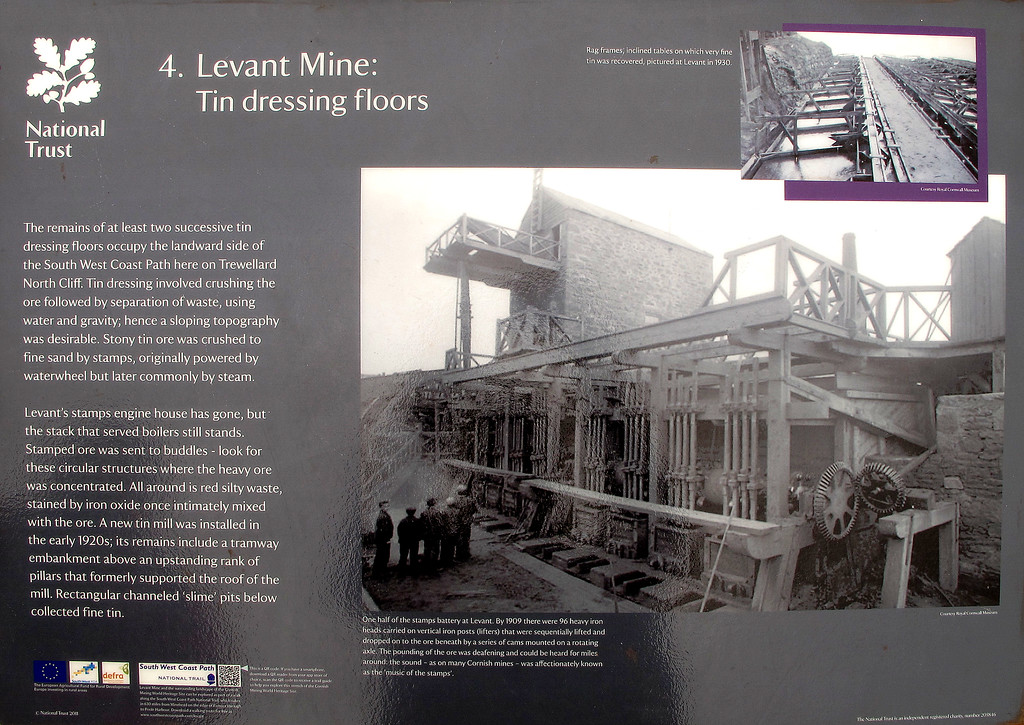 Story board at the Levant Mine on the coast at Pendine.