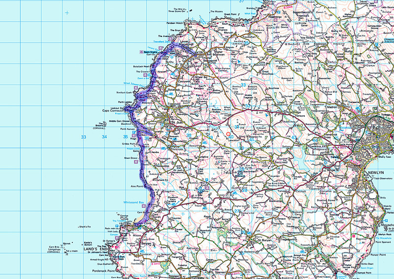 Today's route on an Ordnance Survey map.