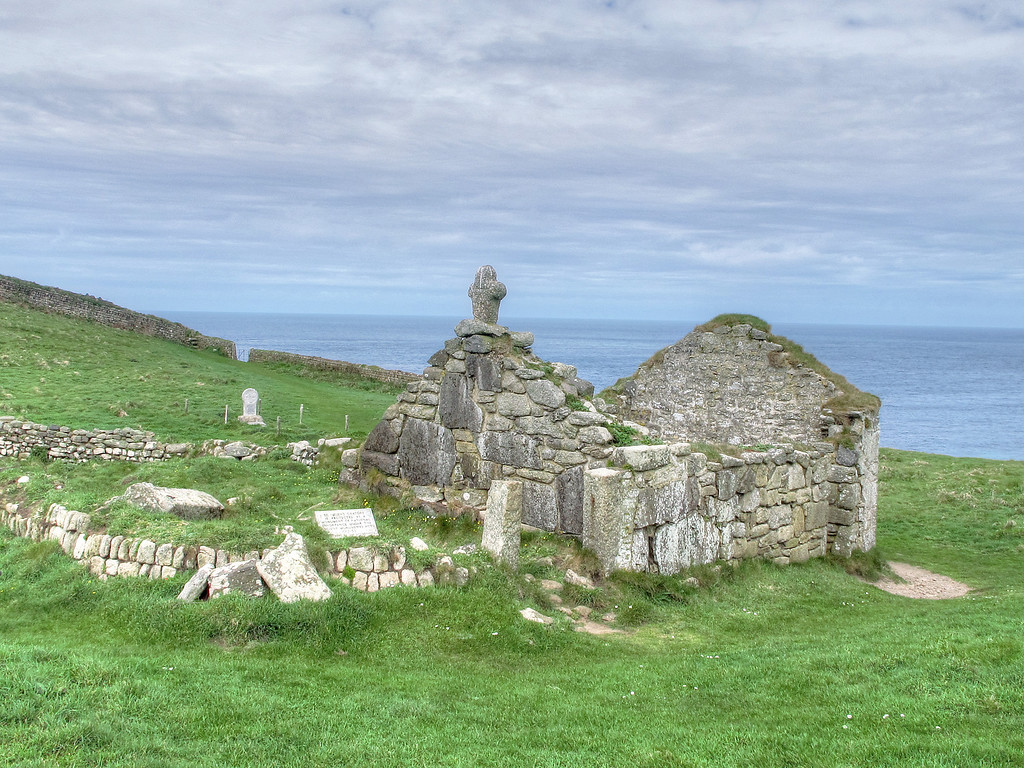 Site of the ancient St Helen's Oratory at cape Cornwall, dating from medieval times.
