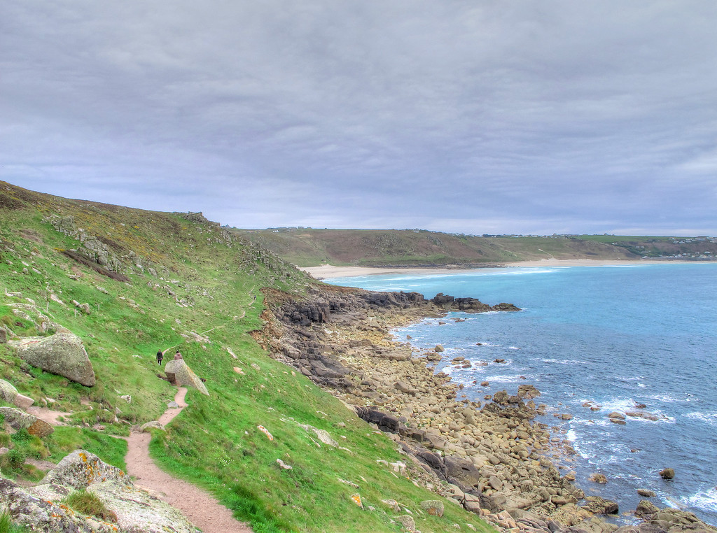 Whitesand Bay leading to Sennen Cove from the headland at Aire Point.