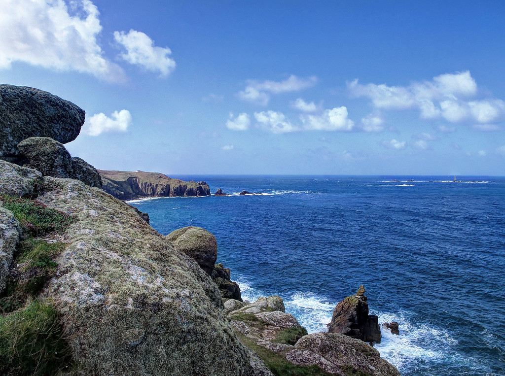 On leaving Sennen Cove, the rugged cliffs at Land's End are the next goal.