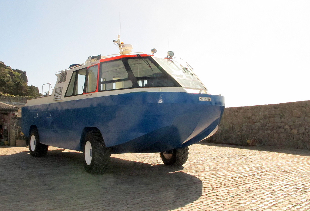 A National Trust St Michaels Mount transporter for carrying visitors to and from the island when the tide is in.