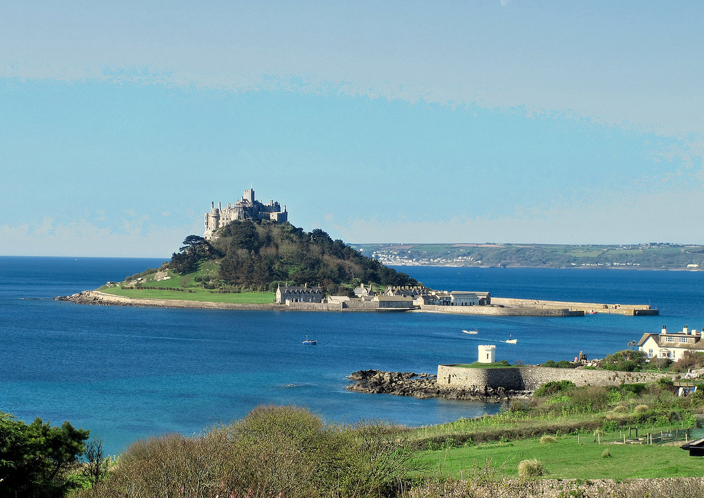 St Michaels Mount from Turnpike Hill in the clear morning sun .....