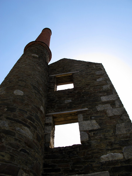The remains of the mine engine house near Rinsey Head.