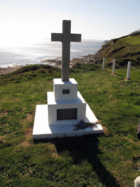 'This cross has been erected in memory of the many mariners drowned on this part of the coast from time immemorial and buried on the cliffs hereabout. Also to commemorate the passing of the 'Grylls' Act of 1808 since when, bodies cast up by the sea have been laid to rest in the nearest consecrated ground.'