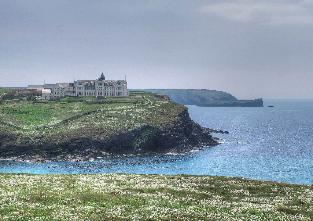 The old hotel at Poldhu Cove, now a retirement home.