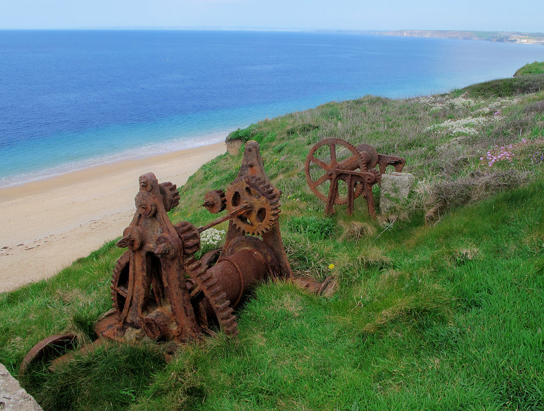 Clifftop machinery at Gunwalloe.