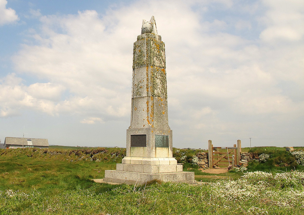 The Marconi Memorial at Poldhu.   Nearby is the aerial field used when Marconi transmitted the first long range radio signal to Newfoundland.