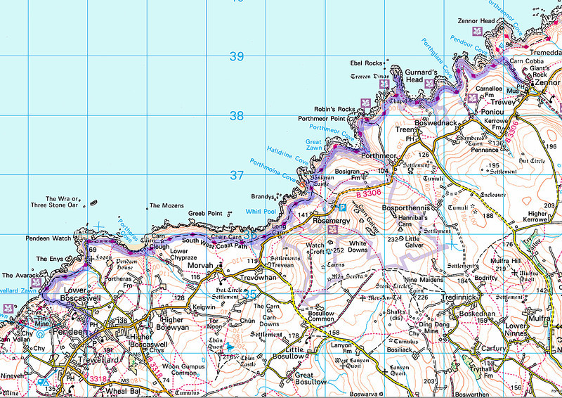 Today's route, from Zennor to Pendeen.
