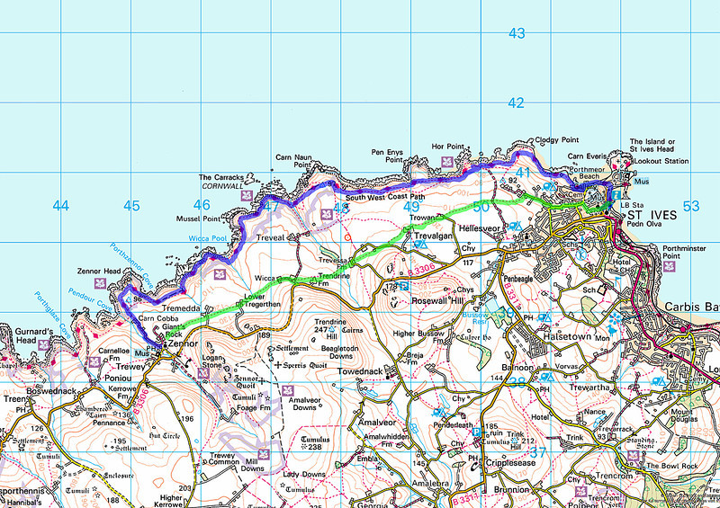The routes taken today.   The green easy walk to st Ives from the pub in Zennor, followed by the start of the walk proper from St Ives back along the much more gruelling Coast Path to the Tinners Arms at Zennor.