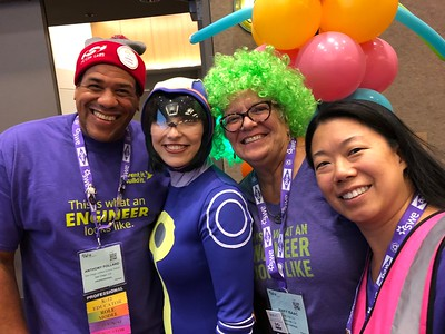 San Diegans (Anthony Pollard, Mary Isaac, Liz Wong)  volunteering at WE18 IIBI, with Nano (from Constance & Nano comics), Saturday, Ocotber 20, 2018.