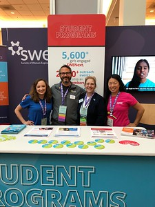 Staffing the K-12 Outreach booth at the WE18 SPARK Center:  Kate Nolan, Randy Freeman, Mary Zeis, Liz Wong
