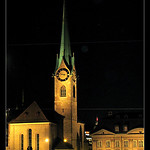 The FraumÌnster church, night , Zurich