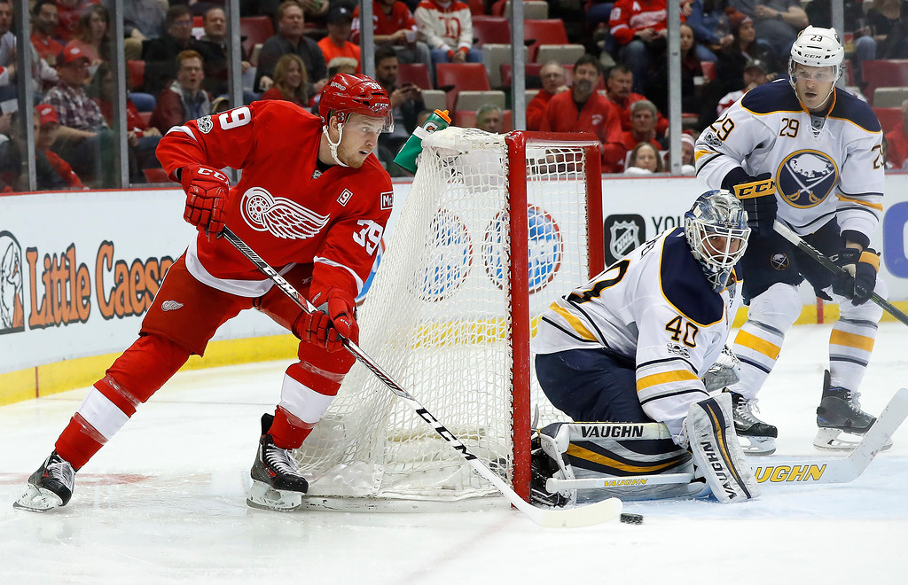 . Buffalo Sabres goalie Robin Lehner (40) stops a Detroit Red Wings right wing Anthony Mantha (39) shot in the second period of an NHL hockey game Monday, March 20, 2017, in Detroit. (AP Photo/Paul Sancya)