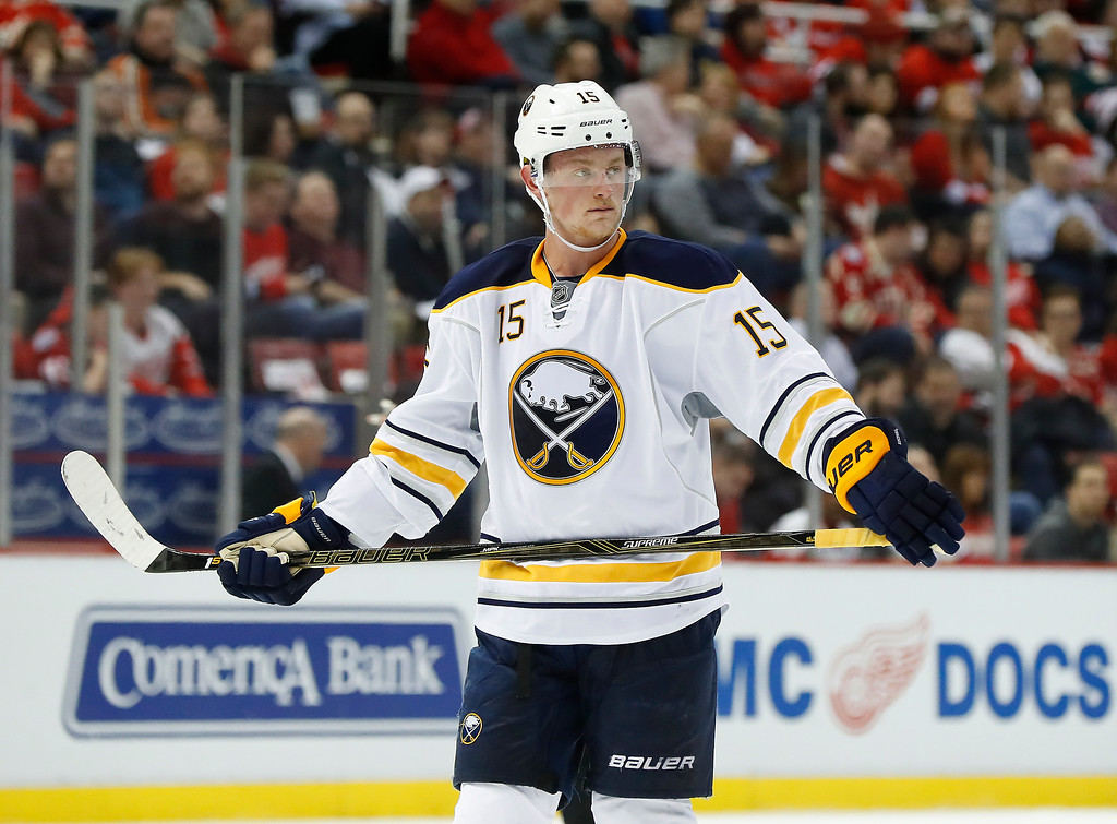 . Buffalo Sabres center Jack Eichel (15) plays against the Detroit Red Wings in the first period of an NHL hockey game Monday, March 20, 2017, in Detroit. (AP Photo/Paul Sancya)