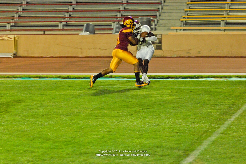 Sacramento City College vs Sierra College at Hughes Stadium, Sacramento, CA, September 16, 2011 -- Photo by Robert McClintock (c) 2011 by Robert McClintock