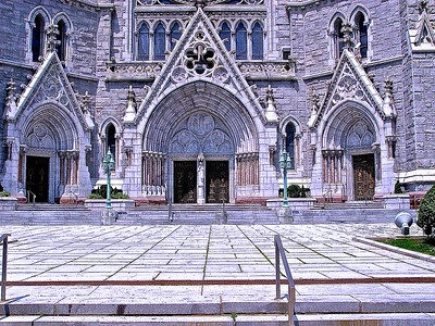 The Plaza in Front of the Cathedral Basilica of the Sacred Heart