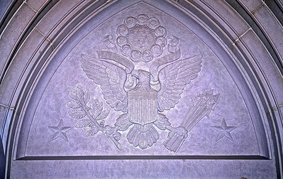 The Great Seal of the United States of America above the entrance of the East Vestibule