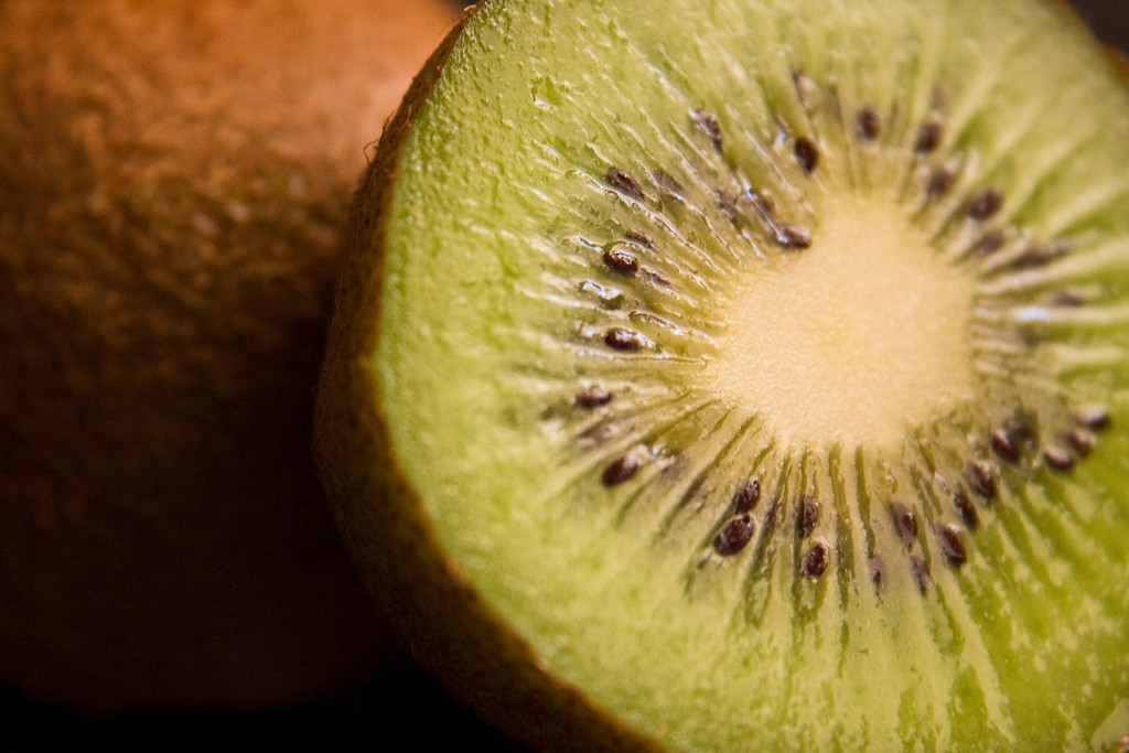 Kiwi<br /> By Connie Buser<br /> <br /> Both shots where taken on my kitchen counter using natural light.  <br /> I used a x4 closeup ring with camera on a tabletop tripod.