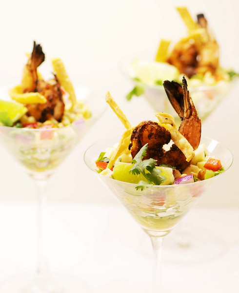 Ten-Spice Barbecue Shrimp Cocktail <br /> with Roasted Corn-Jicama Salsa <br /> & Crispy Tortilla Strips<br /> <br /> By Tommy Bui