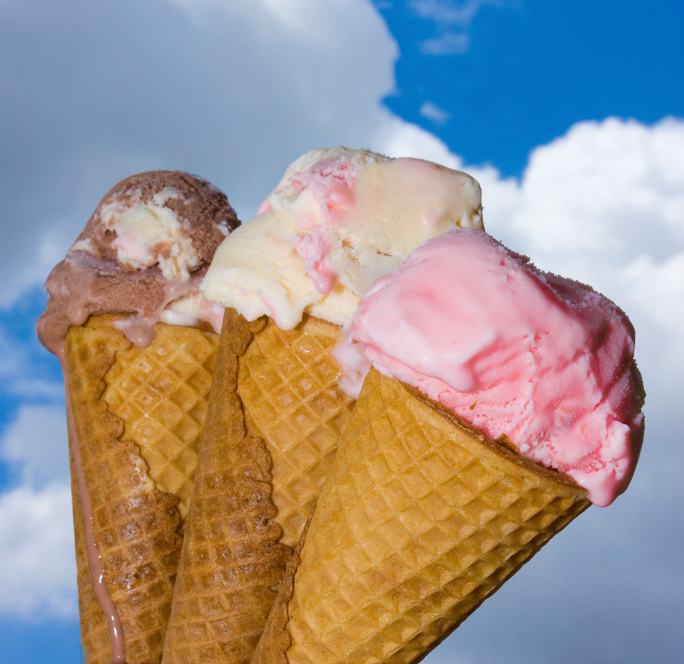 Ice Cream Dream in the Sky<br /> By Connie Buser<br /> <br /> Used flash to highlight against bright sky, wide angle lens and shot up towards the sky.