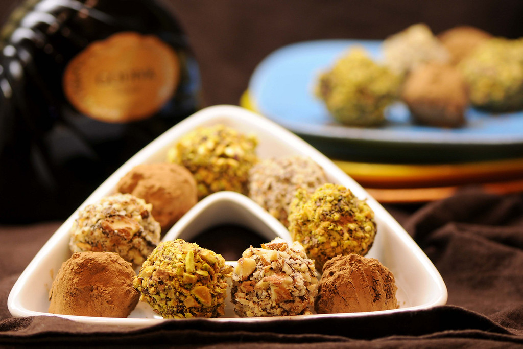 Homemade Truffles<br /> By Thomas Bui<br /> <br /> Godiva Liqueur filling Truffles, Pistachios coating Truffles & Almonds coating Truffles.