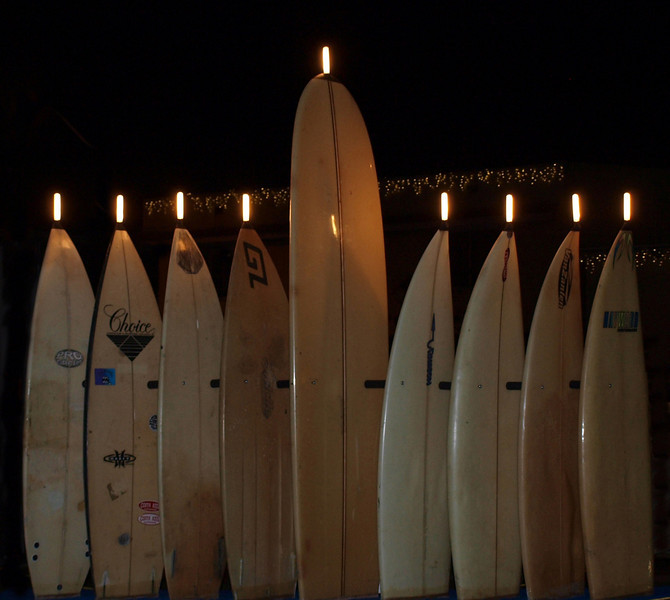 Hanukkah in Laguna Beach<br /> by Myra Posner<br /> <br /> Comments:<br /> <br /> Tonight is the eighth and final night of Hanukkah (Chanukah), the Festival of Lights.<br /> This unique menorah made of surfboards is being displayed at Main Beach, Laguna Beach. How fitting!