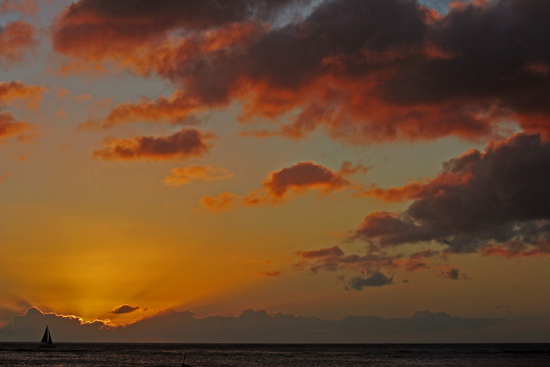 Sunset - Honolulu.  <br /> By Anna Jison<br /> <br /> Comments: I find joy just watching the sky change colors....and so<br /> rapidly, too.