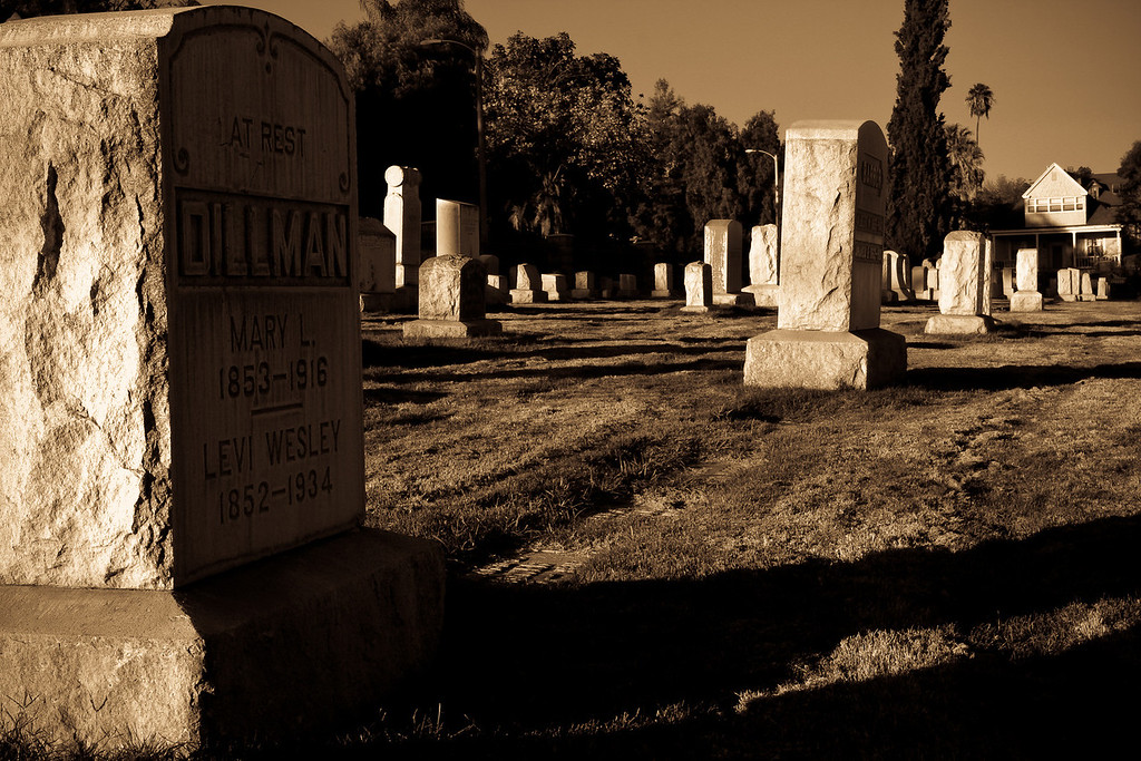 Fear of Graveyards<br /> By Dina Damon<br /> <br /> Note: Location: Evergreen Cemetery ( Old historic cemetery in Riverside)<br /> Description: Fear of Graveyard is usually caused by an intense negative experience from the past. But the mind can also create that fear seemingly without basis. People who are at risk include: People with a general tendency towards fear and anxiety; People characterized as 'high strung'; People suffering from adrenal insufficiency.