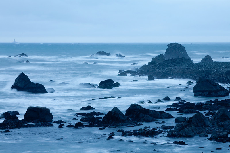 Point Saint George, Outside of Crescent City, CA.<br /> By Michael Beaty<br /> <br /> Note:<br /> I stopped down so that the exposure was long enough to get the soft waves.<br /> The blue cast is to help it give that cold effect.