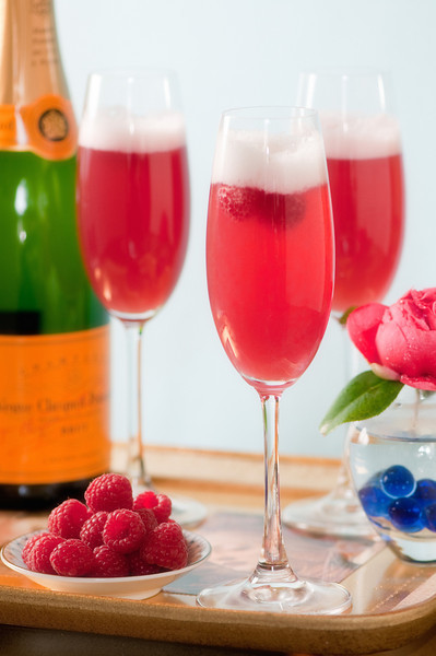 """Kir Royale<br /> By Tommy Bui<br /> <br /> """" Kir Royale """" is Champagne with a splash of creme de cassis."""