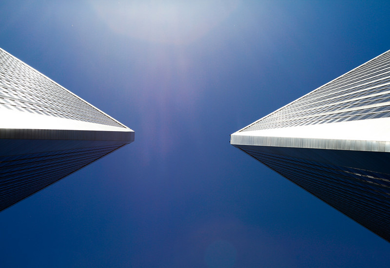 Double Sided Squared Corner<br /> By Jason Hong<br /> <br /> Taken in Century City  where the Twin Towers are located.  Sun was shining on one side, and shady on the other side.  Taken from below (looking up) in between the two buildings.