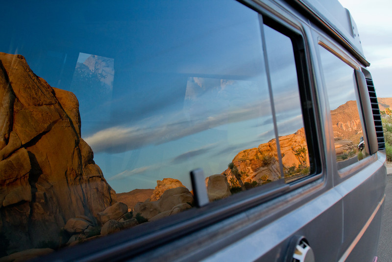 Reflections<br /> By Steven DiAnda<br /> <br /> Vanagon reflection, Joshua Tree National Park<br /> Late afternoon at a day use area, the evening light was just coming on.